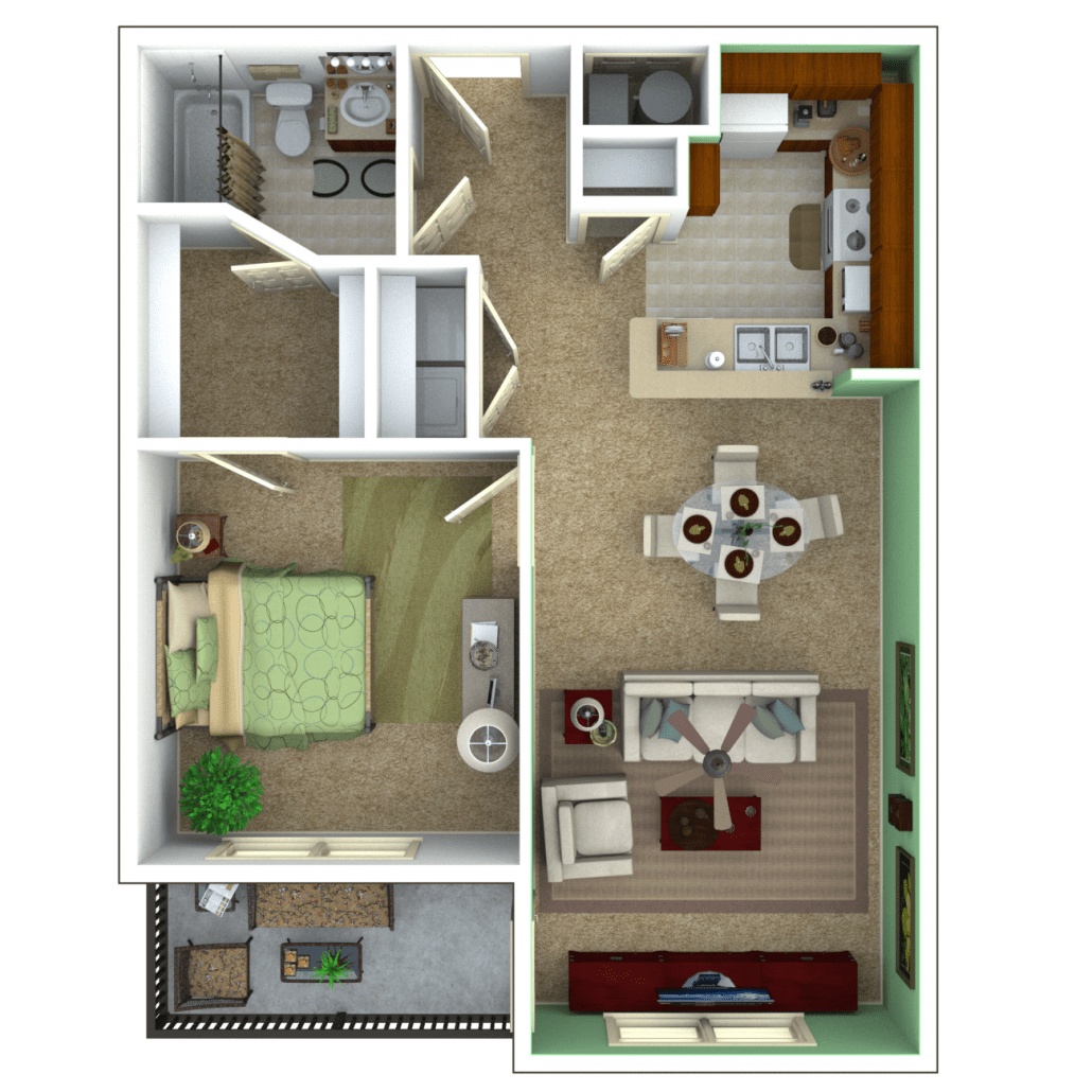 1 Bedroom Apartment Floor Plan Escape